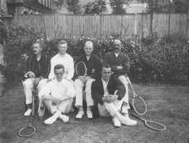 Black and white group shot of tennis players