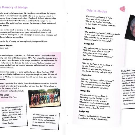 Madge Baranek Tribute Programme, Pages 2-3   Keep Fit Association