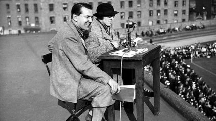 Marjorie Pollard commentating on England vs Wales at the Oval 1938   The Hockey Museum
